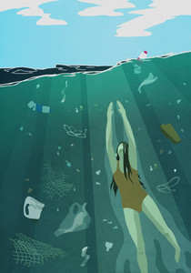 Woman swimming underwater in ocean surrounded by pollution 01