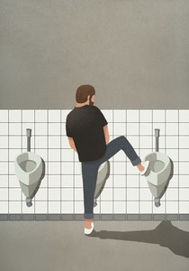 Man urinating with leg up on urinal 01
