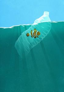 Fish trapped in plastic water bottle in ocean 01