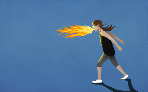 Angry girl breathing fire 01