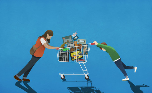 Mother resisting son pushing shopping cart full of toys 01