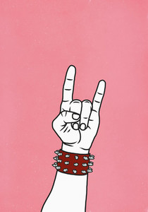 Hand with studded cuff gesturing horn sign 01
