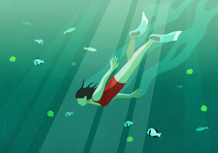 Woman swimming underwater in ocean surrounded by fish 01
