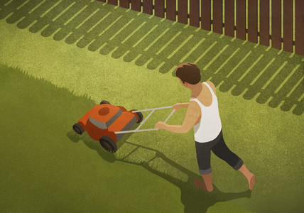 Barefoot man mowing lawn in backyard 01