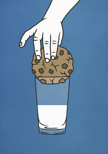 Hand trying to dip large cookie into glass of milk 01