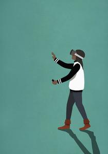 Woman using virtual reality simulator 01