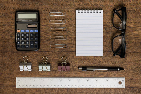 View from above organized office supplies   knolling 01
