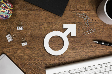 View from above paper male symbol on wooden desk 01