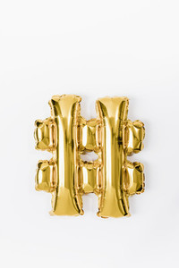 Hashtag gold balloon on white background 01