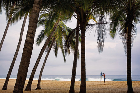 Male surfer with surfboard on tropical beach with palm trees 01