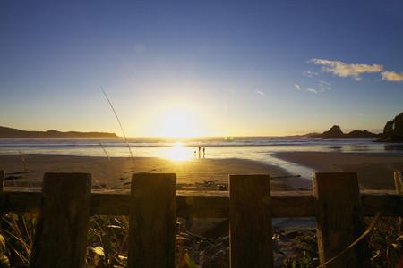 Couple with dog walking on idyllic ocean beach at sunset 01