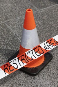 Traffic cone and Restricted Area tape 01
