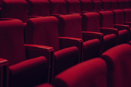 Red theater seats in a row 01