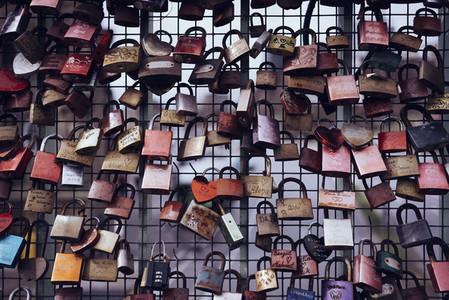 Love lock padlocks on fence 01