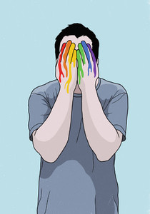 Man covering face with rainbow painted hands 01