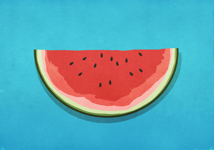 Watermelon slice on blue background 01