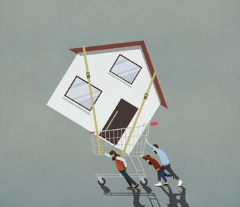 Family pushing large house in shopping cart 01