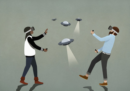 Couple playing UFO video game with virtual reality simulator glasses 01
