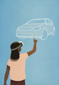 Woman with virtual reality simulator glasses looking up at virtual car 01