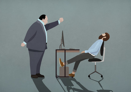 Angry boss shaking fist at sleeping businessman in office 01
