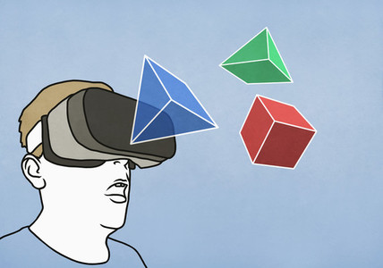 Man with virtual reality simulator glasses looking at 3D geometric shapes 01