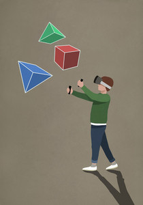 Boy with virtual reality simulator glasses looking at 3D geometric shapes 01