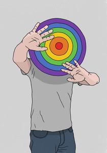 Man hiding behind rainbow dart board 01