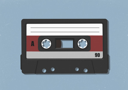 Old fashioned audio cassette tape 01