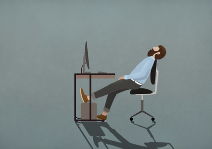 Tired businessman sleeping at desk 01