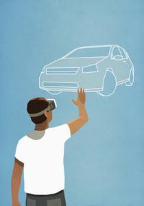 Man with virtual reality simulator glasses looking up at virtual car 01