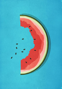 Half eaten watermelon slice and seeds on blue background 01