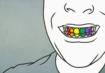 Close up man with toothy smile showing rainbow teeth 01