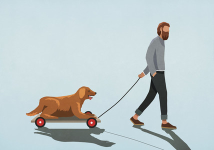 Man pulling dog on cart 01