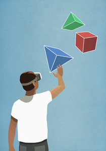 Man with virtual reality simulator glasses looking up at 3D geometric shapes 01