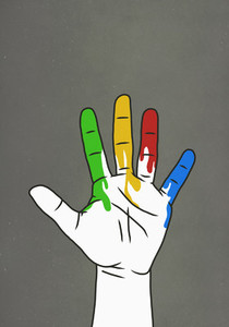 Raised hand dripping rainbow paint 01