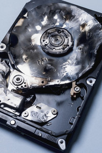 Close up burned external hard disk drive 01