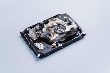 Burned external hard disk drive 01