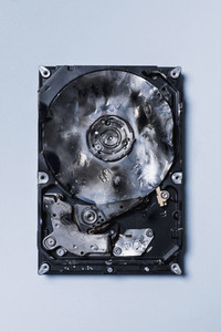 View from above burned CD ROM drive 01