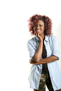 Beautiful black woman on white background  Studio shot