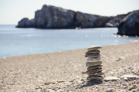 Pebbles in balancing on the beach