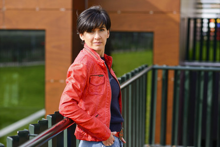 Mid aged woman wearing casual clothes outdoors