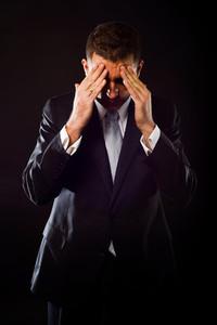 Businessman concerned about crisis
