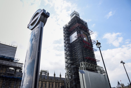 LONDON  ENGLAND  UK  13TH APRIL  2019 Scaffolding around Big Ben during restoration of the Houses of Parliament