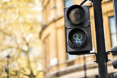 LGBT pedestrian traffic light signals symbolizing equality diversity and tolerance