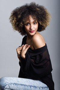 Young black woman with afro hairstyle