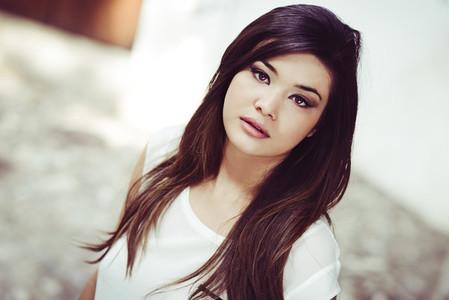 Beautiful japanese woman in urban background