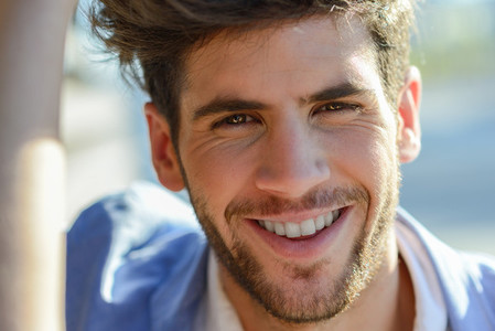 Young Man smiling outdoors