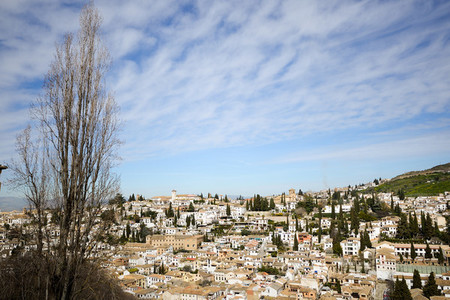 Albaicin seen from the Alhambra in Granada Andalusia Spain