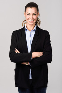 Smiling businesswoman  Studio shot