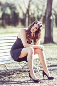Beautiful woman in a urban park